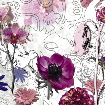 Цветы крупные на контурном фоне